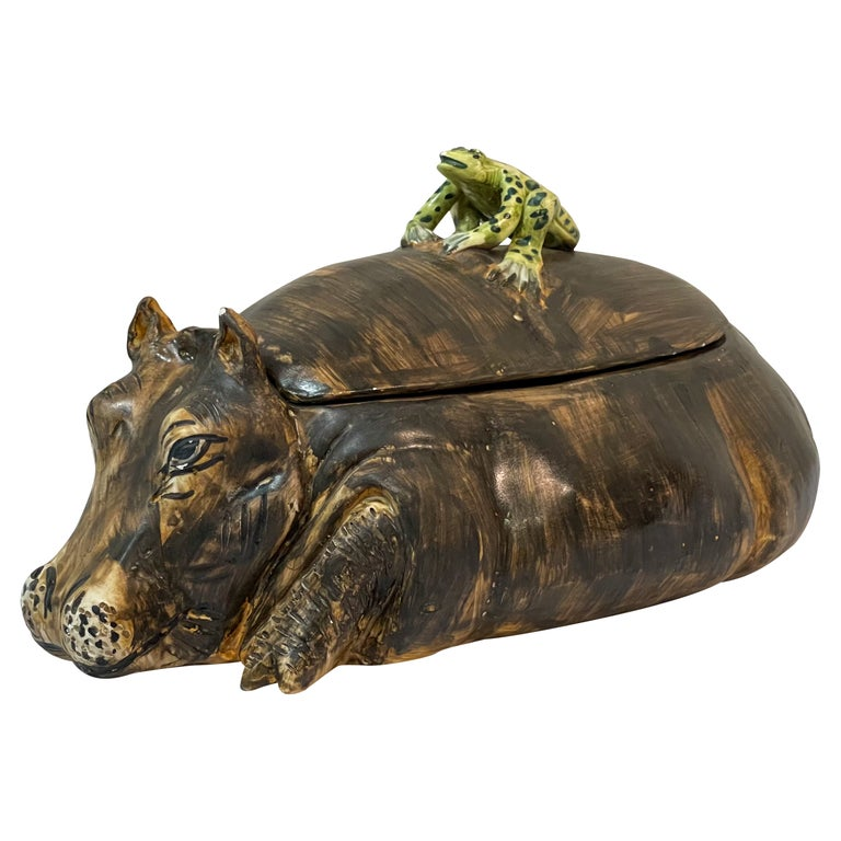 Mid-Century Italian Hippo and Frog Tureen Signed AG with a Coronet For Sale