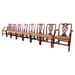 Baker Furniture Georgian Carved Mahogany Dining Chairs, Set of Eight