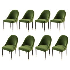 Hand Tailored Dining Chairs in Green Velvet, Set of 8