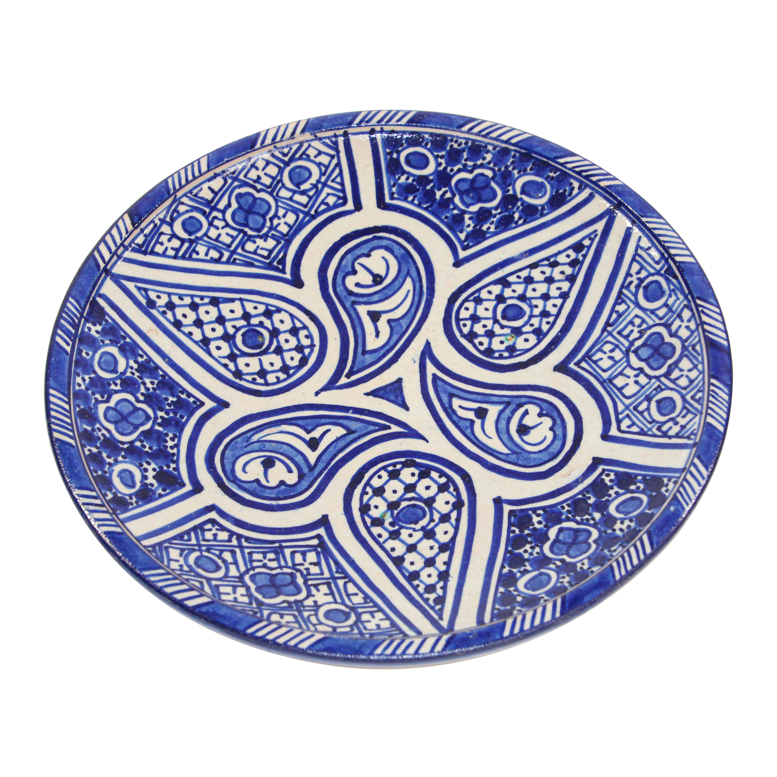 Moroccan Ceramic Plate Blue and White Handcrafted in Fez