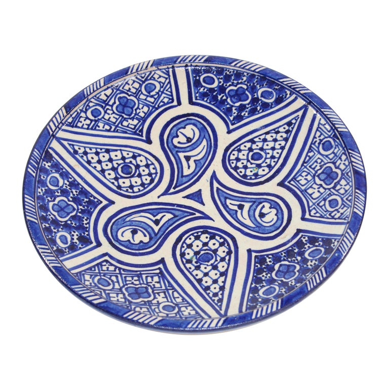 Moroccan Ceramic Plate Blue and White Handcrafted in Fez For Sale