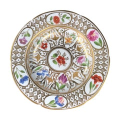 Coalport Plate, Baxter Decorated with Flowers & Geometric Gilding, c. 1805
