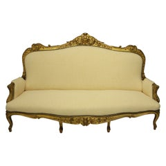 Large English Water Gilded and Finely Carved Settee