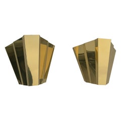 Pair of Monumental 'Diamond' Wall Lamps in Style of Gio Ponti