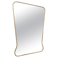 Wonderfully Formed Brass Mirror, 1960s, Italy