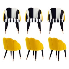 Contemporary Dining Chairs, Set of 6 in COM