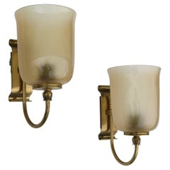 Murano Wall Lamps in Champagne Amber Color Glass and Brass details, Italy 1950's
