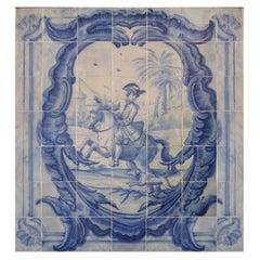 "18th Century Portuguese "" Azulejos "" Panel ""Hunting Scene"""