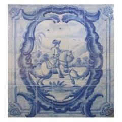 """18th Century Portuguese """"Azulejo """" Panel """"Hunting Scene"""""""