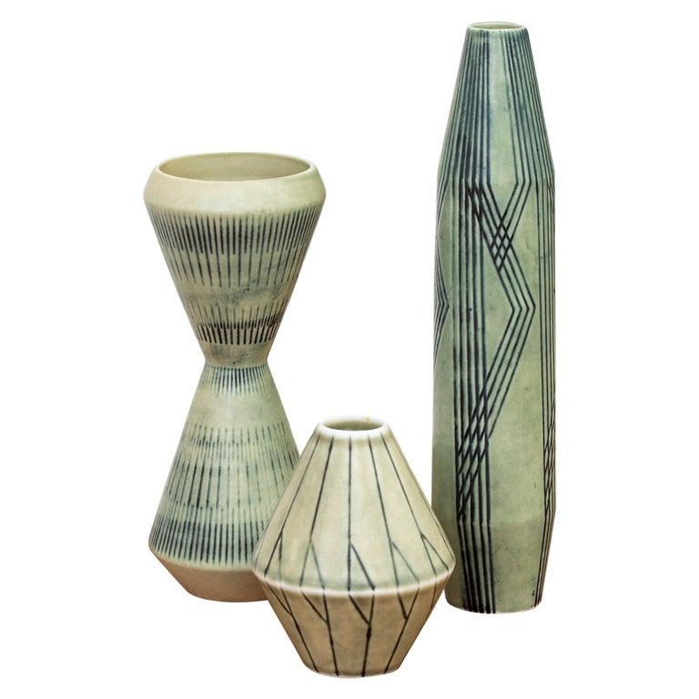 Set of Three Stoneware Vases by Carl-Harry Stålhane, Rörstrand, 1950s For Sale