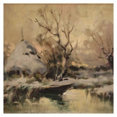20th Century Oil on Canvas French Signed Landscape Painting, 1960