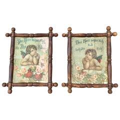 Antique 1890 Pair of Belle Époque Folk Art Frames Angel Prints