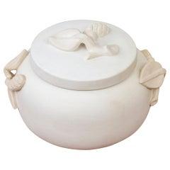 """Carrara"" Lided Ceramic Jar by Wilhelm Kåge, Gustavsberg, 1940s"