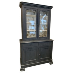 Early 1900 Two Part French Display Cabinet / Tallboy