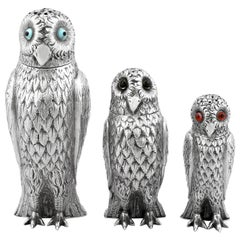 Antique Victorian Sterling Silver Owl Pepperettes