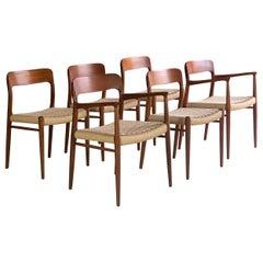 Niels Moller Model 56 & Model 75 Teak & Paper Cord Dining Chairs Set of 6, 1960