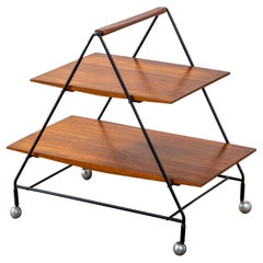 20th Century Ico Parisi Bar Cart in Wood and Metal with Two Trays for MiIM '60s