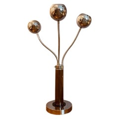 1970s Italian Goffredo Reggiani Articulated Chrome & Perspex Eyeball Table Lamp