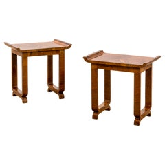 20th Century Gio Ponti 'in the Style of' Couple of Wood Low Tables or Poufs '50s
