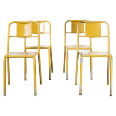 1950's French Mullca Stacking Dining Chairs Mustard with Wood Seat, Set of Four
