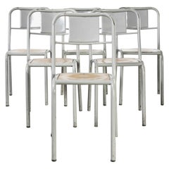 1950's French Mullca Stacking Dining Chairs Grey with Wood Seat, Set of Six