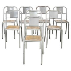 1950's French Mullca Stacking Dining Chairs Grey with Wood Seat, Set of Eight