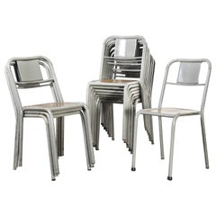 1950's French Mullca Stacking Dining Chairs Grey with Wood Seat, Set of Twelve