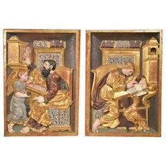 Saints John and Matthew, Polychrome Wood, Possibly, Burgos School, 16th Century