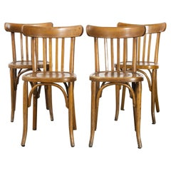 1950's French Warm Oak Bentwood Dining Chairs, Set of Four