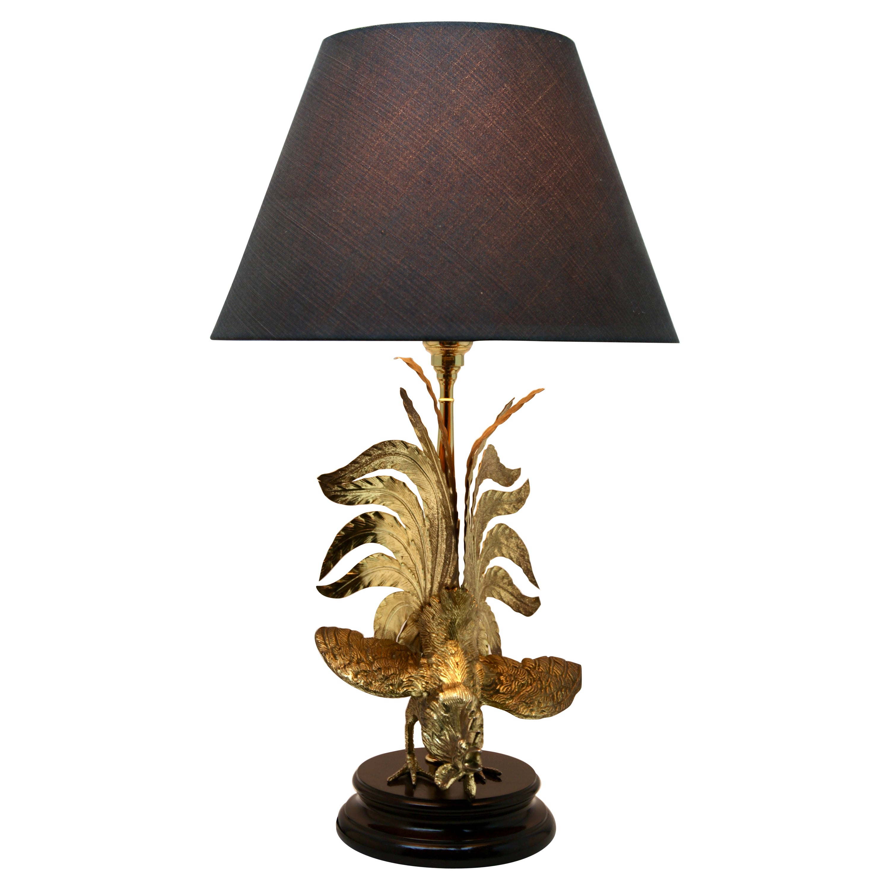 Hollywood Regency Sculptural Brass Cock Table Lamp Style of Maison Jansen