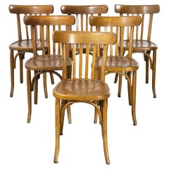 1950's French Warm Oak Bentwood Dining Chairs, Set of Six