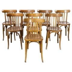 1950's French Warm Oak Bentwood Dining Chairs, Set of Eight