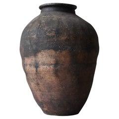 Japanese Antique Huge Pottery 1800s-1860s/Tsubo Flower Vase Vessel Wabisabi Art