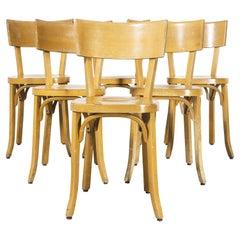1950's French Baumann Blonde Beech Bentwood Dining Chairs, Set of Six