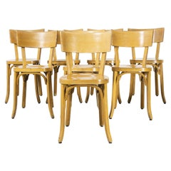 1950's French Baumann Blonde Beech Bentwood Dining Chairs, Set of Eight