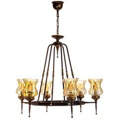 1970's Brass, Glass and Iron Chandelier by Sciolari