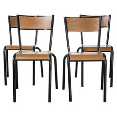 1950's French Mullca Vintage Stacking School, Dining Chairs, Brown Model 510
