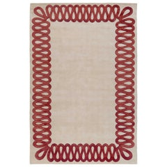 Ruffle Rouge Hand-Knotted 9'x6' Rug in Wool and Silk By Martin Brudnizki