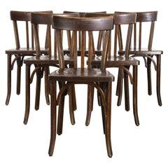 1950's Baumann Bentwood Bistro Dining Chair, Dark Walnut, Set of Six