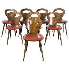 1950's French Baumann Fourmi Dining Chair with Red Upholstered Seat