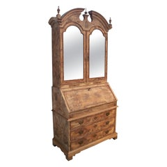 1950s English Walnut Root Wood Bureau Cabinet