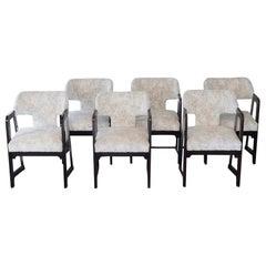 1970's Set of Six Italian Dining Chairs, Wood, Chrome, Black/White Velvet