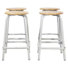 1960's French Grey Laboratory Stools, Set of Four