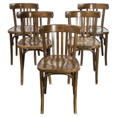 1970's French Dark Oak Bentwood Dining Chairs, Set of Five