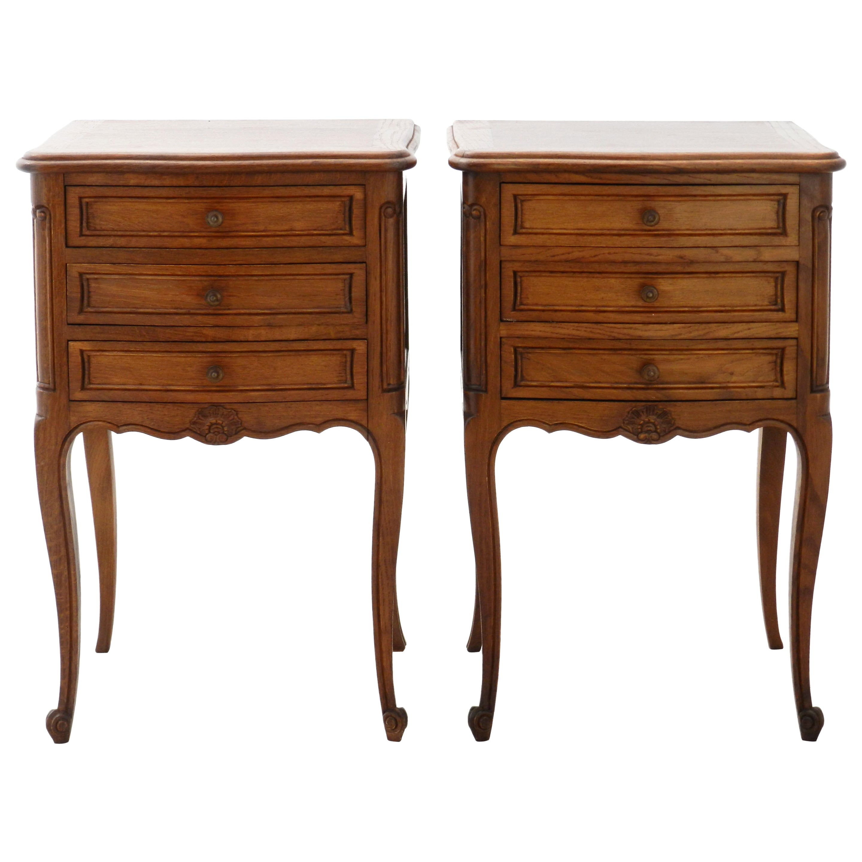 Pair of Nightstands Side Cabinets French Bedside Tables Louis Revival Vintage