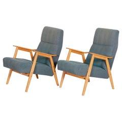 Blue Czech Beech Armchairs 1960s, Original Well Preserved Condition