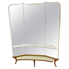 1950s Italian Triple Triptych Wooden Floor Standing Mirror Brass Scrolled Feet