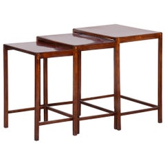 Original Condition Brown Nest Tables Made in the 1930s by Halabala, Czech