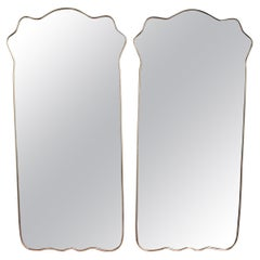 Set of Two Large Mid-Century Italian Wall Mirrors with Brass Frame, 1950s