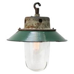 Petrol Enamel Cast Iron Clear Glass Vintage Industrial Pendant Light
